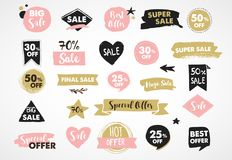 Super Sale labels, modern hand drawn stickers and tags Royalty Free Stock Photography