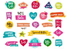 Super Sale labels, modern hand drawn stickers and tags Royalty Free Stock Photo