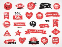 Super Sale labels, red modern hand drawn stickers and tags Stock Photo