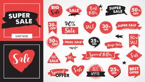 Super Sale labels, red modern hand drawn stickers and tags Royalty Free Stock Photography