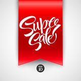 Super Sale lettering with sale labels Royalty Free Stock Photos