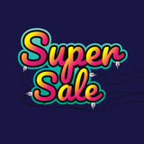 Super sale made by neon type, vector illustration. Abstract veio. Let background. Design concept. Cinema Signage Light Bulbs Frame and Neon Lamps on background Stock Photography