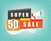 Super sale marketing template banner. stock illustration