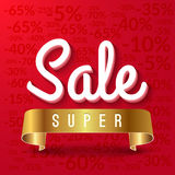 Super sale, mega sale red banner with golden ribbon. Vector EPS 10.  vector illustration