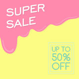Super sale. Melting ice cream. Banner design. Discount up to 50 percent off. Vector illustration Stock Photos