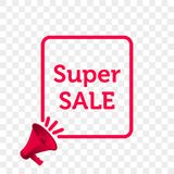 Super Sale message quote megaphone vector icon vector illustration