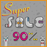 Super Sale. Ninety percents. Unusual font royalty free stock photography