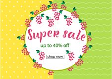 SUPER SALE 40% OFF Lettering design. SUPER SALE 40% OFF background loyout. Lettering design with berry, frame for banner, flyer, invitation, poster, greeting stock illustration