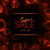 Super sale 70% off banner on a black background with luminous circles vector illustration vector illustration