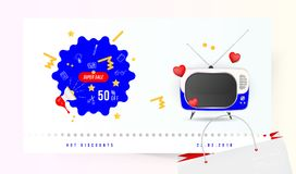 Super sale 50 off. The concept for big discounts with doodle icon, a retro TV and red hearts on a light background. Flat vector il. Lustration EPS10 Royalty Free Stock Photo