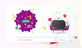 Super sale 30 off. The concept for big discounts with doodle icon, a retro TV and red hearts on a light background. Flat vector il. Lustration EPS10 Royalty Free Stock Images