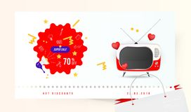 Super sale 70 off. The concept for big discounts with doodle icon, a retro TV and red hearts on a light background. Flat vector il. Lustration EPS10 Stock Photography