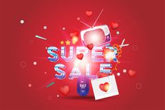 Super sale of 25 off. The concept for big discounts with voluminous text, a retro TV and red hearts on a red background with light. Effects. Flat vector Stock Photo