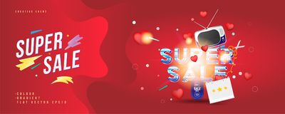Super sale of 25 off. The concept for big discounts with voluminous text, a retro TV and red hearts on a red background with light. Effects. Flat vector Stock Photography
