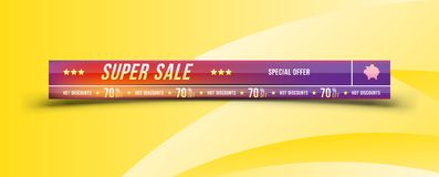Super sale 70 off discount. Banner with shadow in horizontal . Big discount, template for print advertising and web banner. Flat v. Super sale 70 off discount Stock Images