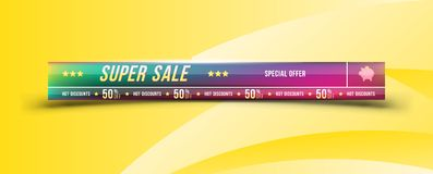 Super sale 50 off discount. Banner with shadow in horizontal format. Big discount, template for print advertising and web banner. Flat illustration EPS 10 Royalty Free Illustration