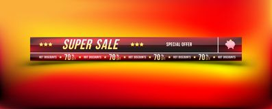 Super sale 70 off discount. Banner with shadow in horizontal format. Big discount, template for print advertising and web banner. Flat  illustration EPS 10 Stock Photos