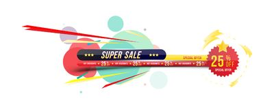 Super sale 25 off discount. Banner with shadow in horizontal format with sticker. Big discount, template for print. Advertising and web banner. Flat vector Royalty Free Stock Photography