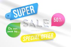 Super sale 50 off discount. Banner template for design advertising and poster with colors elements on white background. Flat vecto. R illustration EPS 10 Stock Illustration