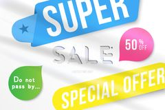 Super sale 50 off discount. Banner template for design advertising and poster with colors elements on white background. Flat vecto. R illustration EPS 10 Vector Illustration