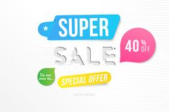Super sale 40 off discount. Banner template for design advertising and poster with colors elements on white background. Flat vecto. R illustration EPS 10 royalty free illustration