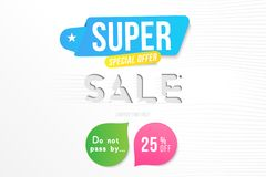 Super sale 25 off discount. Banner template for design advertising and poster with colors elements on white background. Flat vecto. R illustration EPS 10 royalty free illustration