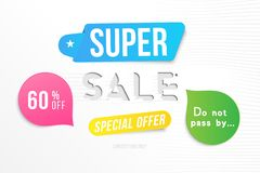 Super sale 60 off discount. Banner template for design advertising and poster with colors elements on white background. Flat vecto. R illustration EPS 10 royalty free illustration