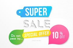 Super sale 10 off discount. Banner template for design advertising and poster with colors elements on white background. Flat vecto. R illustration EPS 10 vector illustration