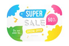Super sale 50 off discount. Banner template for design advertising and poster with colors elements on white background. Flat vecto. R illustration EPS 10 Royalty Free Illustration