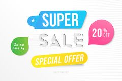 Super sale 20 off discount. Banner template for design advertising and poster with colors elements on white background. Flat vecto. R illustration EPS 10 vector illustration