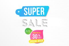 Super sale 30 off discount. Banner template for design advertising and poster with colors elements on white background. Flat vecto. R illustration EPS 10 vector illustration