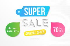 Super sale 70 off discount. Banner template for design advertising and poster with colors elements on white background. Flat vecto. R illustration EPS 10 vector illustration