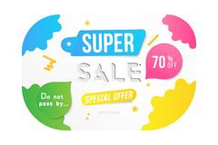Super sale 70 off discount. Banner template for design advertising and poster with colors elements on white background. Flat vecto. R illustration EPS 10 royalty free illustration