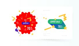 Super sale 70 off discount. Banner template for design advertising and poster on light background with shadow. Flat vector illustr. Ation EPS 10 Royalty Free Stock Photos