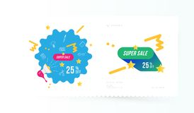 Super sale 25 off discount. Banner template for design advertising and poster on light background with shadow. Flat vector illustr. Ation EPS 10 royalty free illustration
