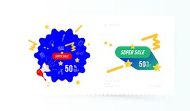 Super sale 50 off discount. Banner template for design advertising and poster on light background with shadow. Flat vector illustr. Ation EPS 10 Stock Photo