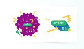 Super sale 30 off discount. Banner template for design advertising and poster on light background with shadow. Flat vector illustr. Ation EPS 10 vector illustration