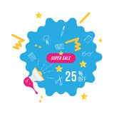 Super sale 25 off discount. Banner template with loudspeaker for design advertising and poster on white background. Flat vector il. Lustration EPS 10 Stock Photos