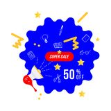 Super sale 50 off discount. Banner template with loudspeaker for design advertising and poster on white background. Flat vector il. Lustration EPS 10 Vector Illustration