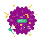 Super sale 30 off discount. Banner template with loudspeaker for design advertising and poster on white background. Flat vector il. Lustration EPS 10 Stock Photography