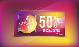 Super sale 50 discount bright rectangular poster format and flyer. Template for design advertising and banner on colour background. Super sale 50 off discount Vector Illustration