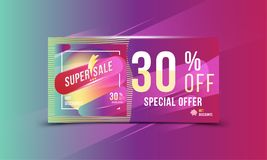 Super sale 30 discount bright rectangular poster format and flyer. Template for design advertising and banner on colour background. Super sale 30 off discount Royalty Free Stock Images