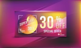 Super sale 30 discount bright rectangular poster format and flyer. Template for design advertising and banner on colour background. Super sale 30 off discount Royalty Free Stock Photo