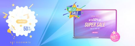 Super sale 50 off discount. Horizontal Banner with laptop, template for design advertising and poster with light effects. Flat vec. Super sale 50 off discount Stock Illustration