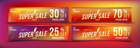 Super Sale 25 - 70 off discount. Set banners in horizontal format. Special offer, template for print and web advertising. Poster a. Nd flyer on colour background stock illustration