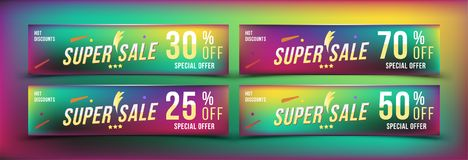 Super Sale 25 - 70 off discount. Set banners in horizontal format. Special offer, template for print and web advertising. Poster a. Nd flyer on colour background Royalty Free Stock Images