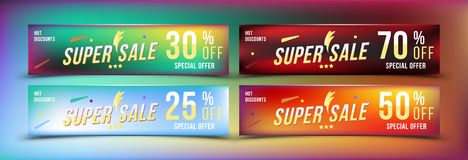 Super Sale 25 - 70 off discount. Set banners in horizontal format. Special offer, template for print and web advertising. Poster a. Nd flyer on colour background Stock Photos
