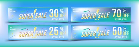 Super Sale 25 - 70 off discount. Set banners in horizontal format. Special offer, template for print and web advertising. Poster a. Nd flyer on colour background Stock Image