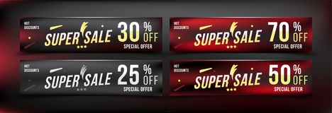 Super Sale 25 - 70 off discount. Set banners in horizontal format. Special offer, template for print and web advertising. Poster a. Nd flyer on black background Royalty Free Stock Images