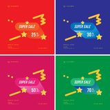 Super sale 25 - 70 off discount. Set of square banners template for design advertising and poster on colours background. Flat vector illustration EPS 10 Stock Illustration